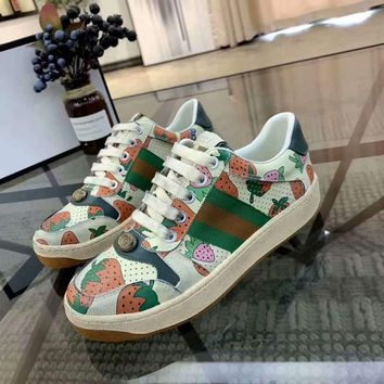 Gucci Hot Sale Women Strawberry Fahsion Casual Sports Running Shoes