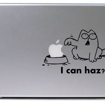 Cat Decal / I can haz decal / Macbook Decal / Macbook Sticker / Laptop Decal / Laptop Sticker / Hungry Cat