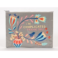 I Am Complicated Thank You Zipper Pouch in Floral and Grey