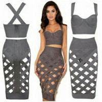 Strappy Backless Bodycon Cropped Top Cutout Midi Skirt Set