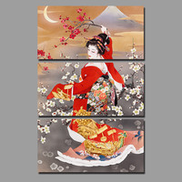 Big Size Japan Style Red Kimono lady Picture decoration Japanese Plum Flowers Canvas Painting wall Art home decor unframed