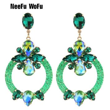 NeeFu WoFu Drop Resin Earrings Brand Crystal Big Earring Large Long Brinco Ear Accessories Oorbellen Christmas Gift