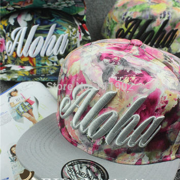 3D embroidery aloha flower leaves Flat brim snapback baseball cap pu hip-hop hat Men Women /10pcs -A124