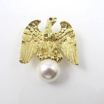Ann Hand Liberty Eagle Brooch Pin. Patriotic Jewelry. Figural American Eagle Jewelry. Collectible Ann Hand Jewelry