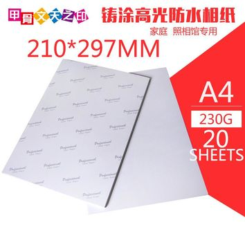 20 Sheet /Lot High Glossy A4 Photo Paper For Inkjet Printer Photographic Quality Colorful Graphics Output Album covers ID photo
