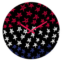 Lisa Argyropoulos Red White And Blue Stars Night Round Clock