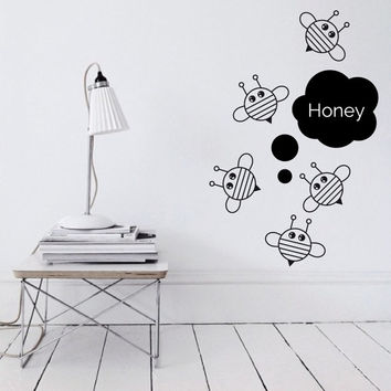 Wall Decor Vinyl Sticker Decal Bee Wings Nursery Kid Child Baby Insect Bug Hexapod Fly Flyer Flying Nature Bumblebee Honey (s178)