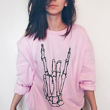 Skeleton Rock Hand Crewneck Sweatshirt