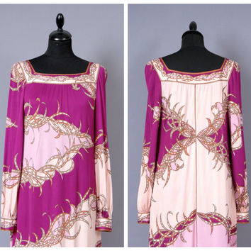 EMILIO PUCCI Vintage 1960s Floral Magenta Pink Silk Jersey Empire Line Maxi Dress