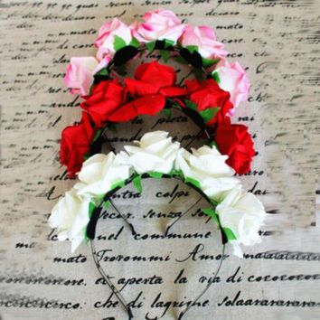 ONETOW 1*Rose Floral Flower Garland Crown Headband Hair Band Bridal Festival Holiday