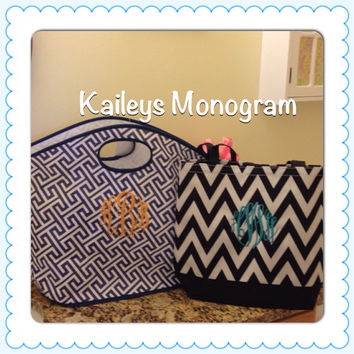 Monogrammed Tote Greek Key Navy Personalized Beach Pool Bridesmaid PreppySorority Bride Picnic Basket Name Monogrammed
