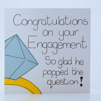 Greeting Card - Engagement Card - Congratulations on your Engagement - Couple Card - Funny card