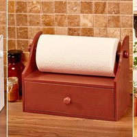 Rustic Paper Towel Holder w/Storage Drawer Distressed Finish Country Farmhouse