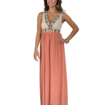 Flying Tomato® Women's Ivory & Rust Sleeveless Maxi Dress