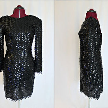 Vintage 1980s Glenrob Black Sequin and Fringe Cocktail Dress