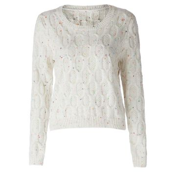 Fashionable Jewel Neck Long Sleeve Solid Color Cable-Knit Sweater For Women