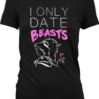 Funny Workout Shirt I Only Date Beasts Gym Clothing Fitness T Shirt Weight Lifting Shirt Training Tops Gifts For Her Ladies Tee WT-121