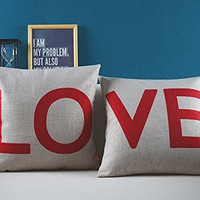 LOVE Word Letters Set of 2 Romantic Engagement Hen Party Wedding Square Sofa Throw Decorative Cushion Cover Pillow Cases Red Beige 18'' Zip