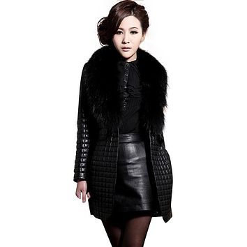 Elegant Women Fashion Winter Faux Leather Fur Charming Long Sleeve Coat Lady Warm Stylish Outerwear Overcoat Suede Abrigo Nov29