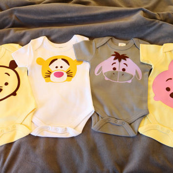 Organic Tsum Tsum Inspired Disney Winnie the Pooh Tigger Piglet Eeyore Baby Clothes Baby Onesuit