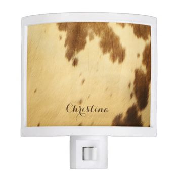 Texas Long Horn Faux Cowhide Leather Personalized Night Light