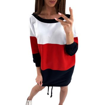 Casual Striped Dress Sexy Backless Patchwork O-Neck Dresses