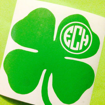 4 leaf clover monogram car decal St. Patrick's day present Irish car sticker monograms initials Irish car decal custom monogram stickers car