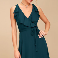 Eve of Enchantment Teal Blue Wrap Dress