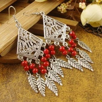 Silver Leaves and Red Beaded Chandelier Earrings