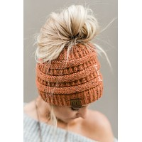 Messy Bun Knitted Beanie - Confetti Rust