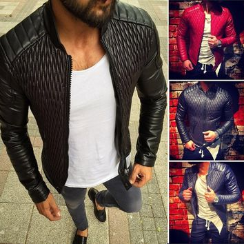 Mens Leather Jacket Vintage Cafe Racer  Retro Motorcycle Biker Coat Fashion
