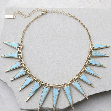 Modern Beginnings Gold and Turquoise Choker Necklace