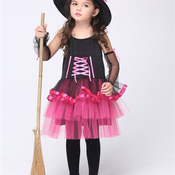 MOONIGHT Girl Little Witch Cosplay Costumes Halloween Stage Performance Skirt Vestido Tutu Dress Kids Carnival Party Outfit