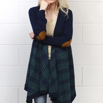 Campfire Stories Plaid + Suede Elbow Patch Cardigan {Green}