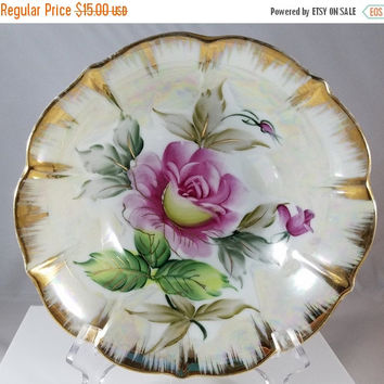 Christmas Sale Gold Trimmed Rose Bowl  (949)