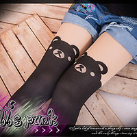 japan LOLITA princess diary Formosan black bear twins layered-look pantyhose
