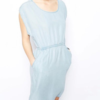 Light Blue Denim Sleeveless A-Line Dress With Pocket
