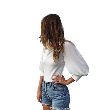 White Lantern Sleeve Backless Blouse