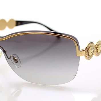 RARE Authentic VERSACE Gold Medusa Swarovski Crystal Sunglasses VE 2146-B 100211