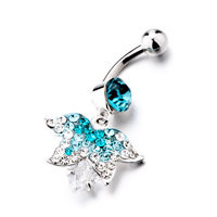 Leaf Shaped With December Birthstone Belly Button Ring, Belly Rings, New Year Belly Rings | Pugster.com
