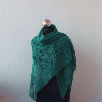 Emerald Green hand knitted merino shawl with lace pattern
