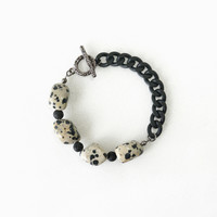 Dalmatian Stone Bracelet, Black Spot Nugget Stone Statement Bracelet, Unique Jewelry