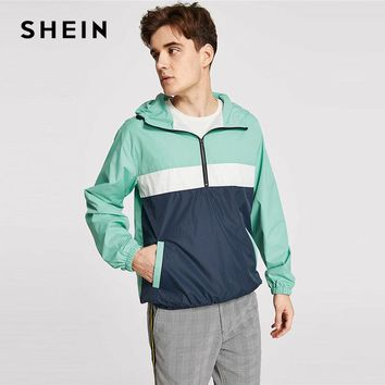 SHEIN Men Multicolor Cut and Sew Anorak Windbreaker Jacket Autumn Sporting Colorblock Long Sleeve Pocket Coat And Outerwear