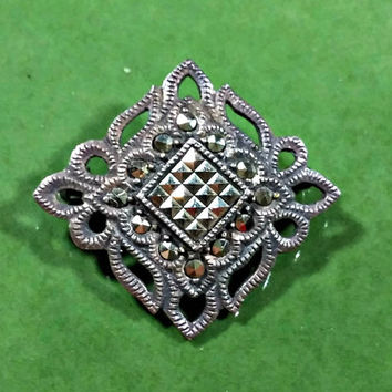 Victorian Mourning Brooch Diamond Shape Marcasites Vintage Repro Silver Antique Style Repro Exquisite Detail 1940's Very Well Made Patina