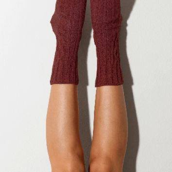Wine Marled Cable Knit Crew Socks