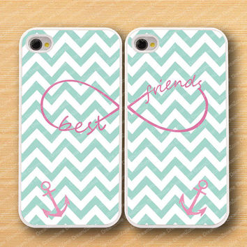 Mint green Chevron,Anchor& Best friends--iPhone 4 Case, iPhone 4s Case, iPhone 4 Hard Plastic Case,Personalized iPhone covers--water proof