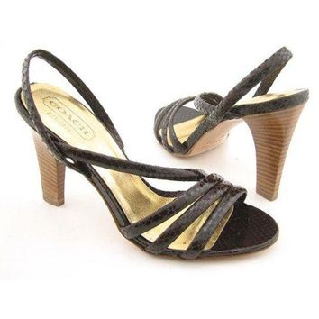 CREY3DS COACH Beatriz Brown Sandals Strappy Shoes Womens 9
