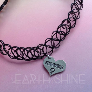 Feminist charm necklace, tattoo choker, chain or cord, gold or silver finish