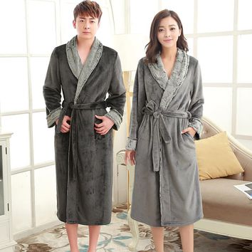 On Sale Lovers Luxury Fur Soft Flannel Coral Fleece Long Thermal Winter Bathrobe Men Thick Warm Lounge Robes Male Dressing Gown