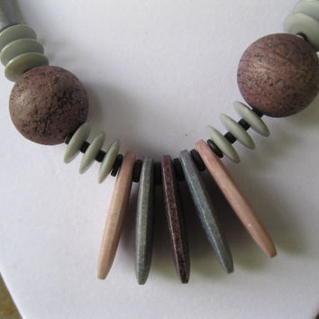 Grey and Brown Stone Necklace Vintage